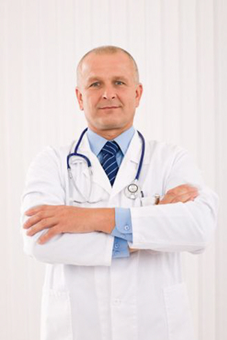 mature doctor male with stethoscope cross arms