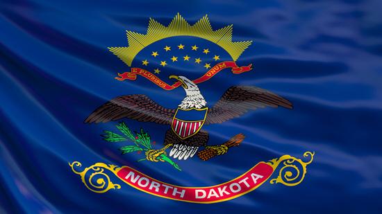 North Dakota state flag, medical clinics