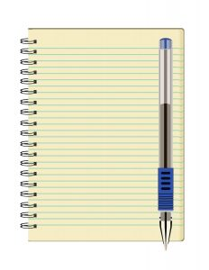 notebook and pen to record treatment schedule 232x300